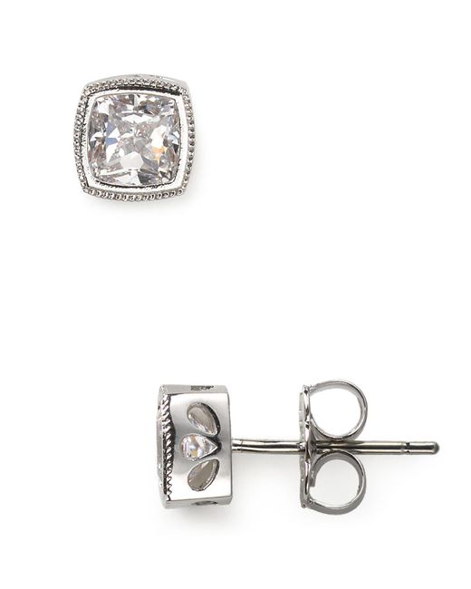 Nadri - Metallic Cushion Cut Stud Earrings - Lyst