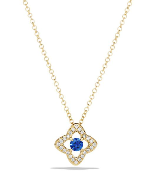 David Yurman - Metallic Venetian Quatrefoil Necklace With Blue Sapphire And Diamonds In 18k Gold - Lyst