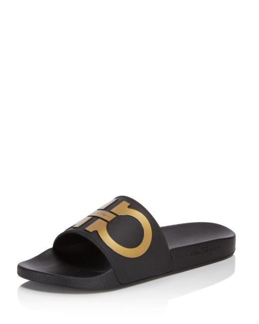 Ferragamo - Black Men's Groove 2 Original Double Gancini Slide Sandals for Men - Lyst
