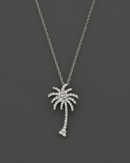 Bloomingdale's - Diamond Palm Tree Pendant Necklace In 14k White Gold, .25 Ct. T.w. - Lyst