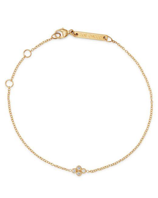 Zoe Chicco - Metallic 14k Yellow Gold Tiny Quad Diamond Adjustable Bracelet - Lyst