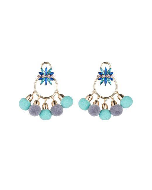 ABS By Allen Schwartz | Blue Pom Pom Chandelier Earrings | Lyst