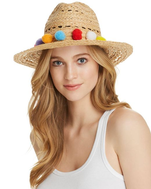 Aqua - Natural Pom-pom Trim Raffia Hat - Lyst