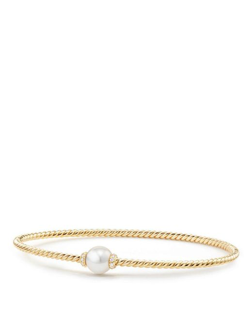 David Yurman - Metallic Solari Station Bracelet With Cultured Pearl & Diamonds In 18k Gold - Lyst