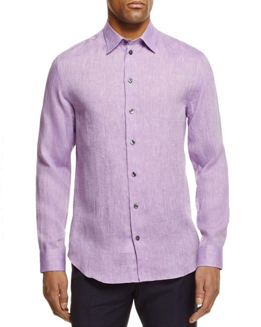 Armani - Purple Flax Regular Fit Button-down Shirt for Men - Lyst