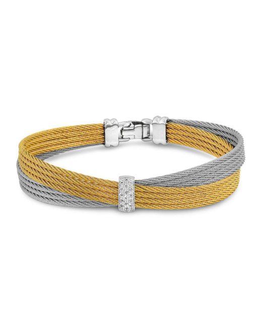 Alor - Metallic Two Tone Crisscross Cable Bracelet With Diamonds - Lyst