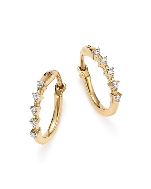 Adina Reyter - Metallic 14k Yellow Gold 5-diamond Huggie Hoop Earrings - Lyst