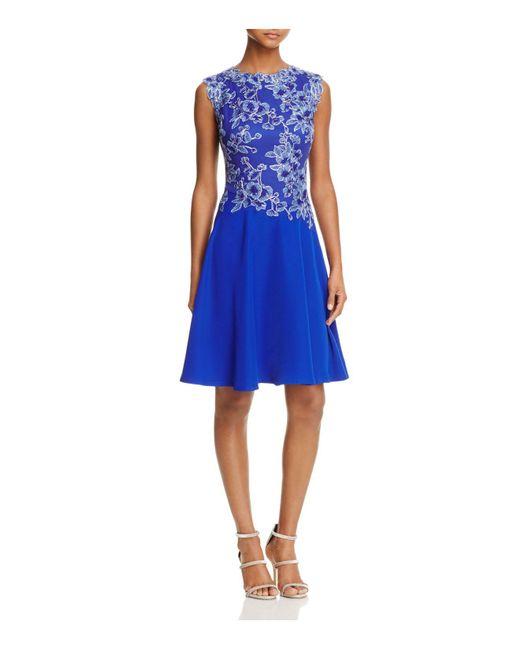 Tadashi Shoji | Blue Sleeveless Lace Bodice Dress | Lyst