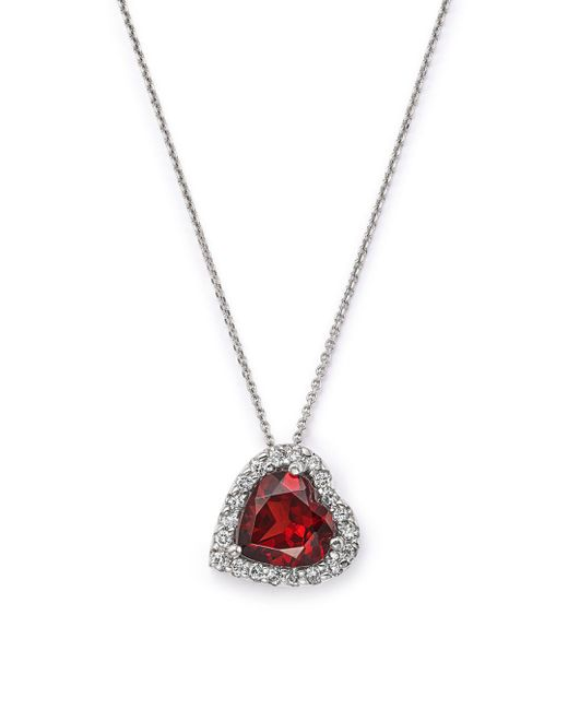 "Bloomingdale's - Garnet And Diamond Heart Pendant Necklace In 14k White Gold, 16"" - Lyst"