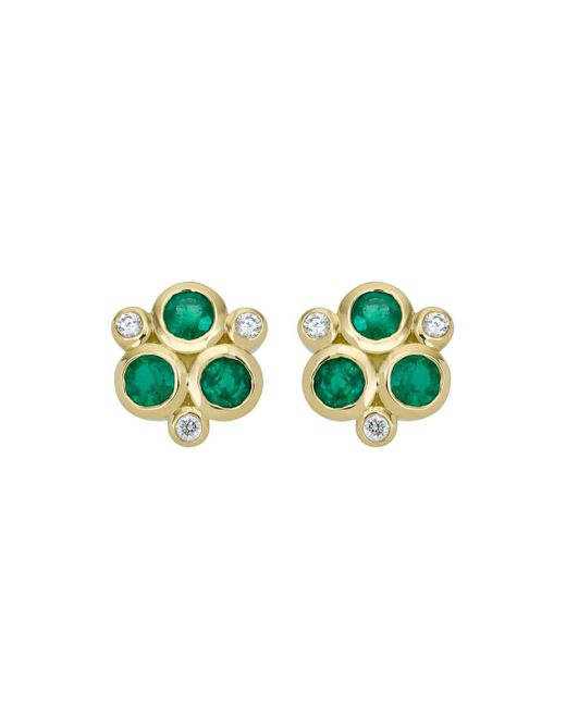 Temple St. Clair | Green 18k Yellow Gold Classic Triple Stone Emerald And Diamond Earrings | Lyst