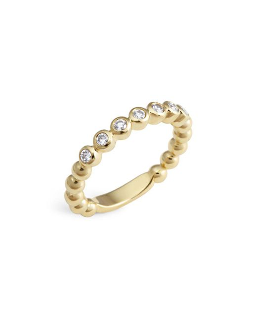 Lagos - Metallic 18k Gold Beaded And Diamond Ring - Lyst