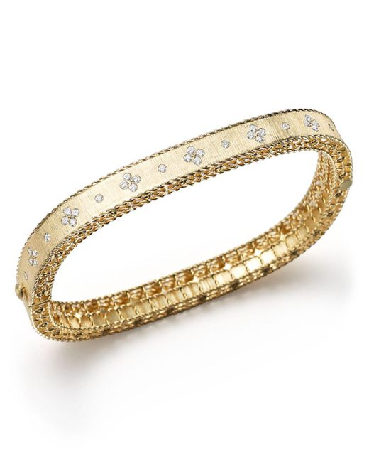 Roberto Coin - Metallic 18k Yellow Gold And Diamond Princess Bangle - Lyst