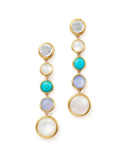 Marco Bicego | Metallic 18k Yellow Gold Jaipur Multi Stone Drop Earrings With Diamonds | Lyst