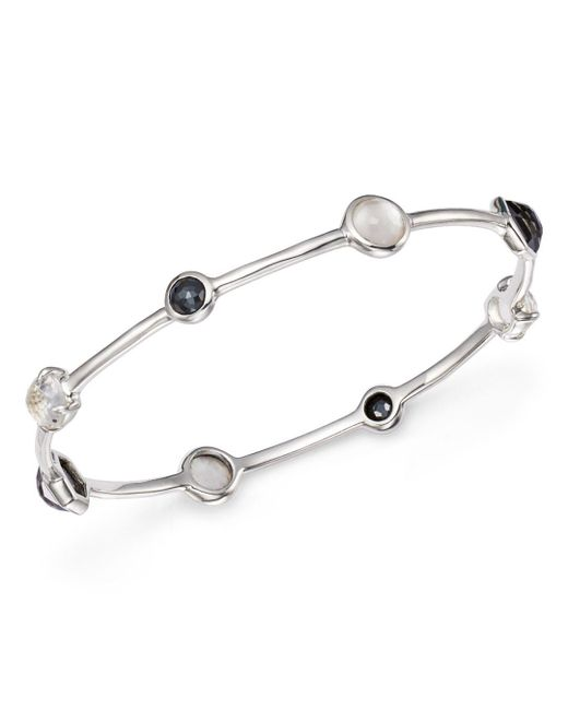 Ippolita - Metallic Hematite Doublet And Clear Quartz Mixed Station Bangle In Piazza - Lyst