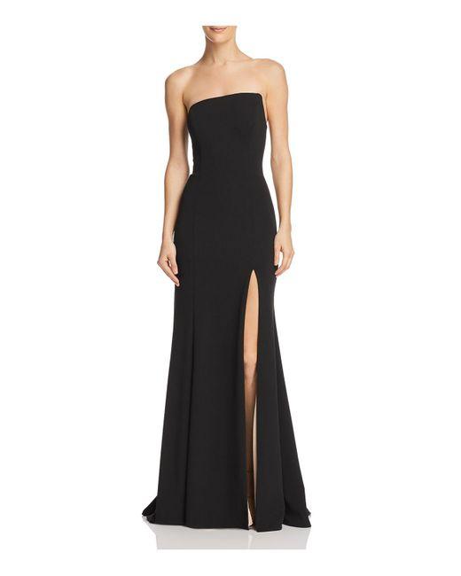 Aqua - Black Strapless Scuba Crepe Gown - Lyst