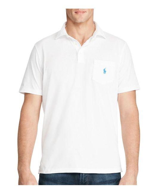 Polo Ralph Lauren | White Cotton Custom Fit Pocket Polo Shirt for Men | Lyst