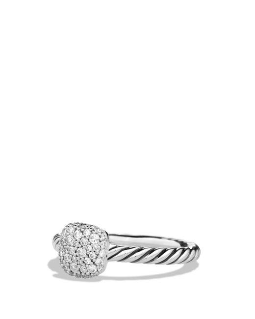 David Yurman - Metallic Petite Pavé Cushion Ring With Diamonds - Lyst