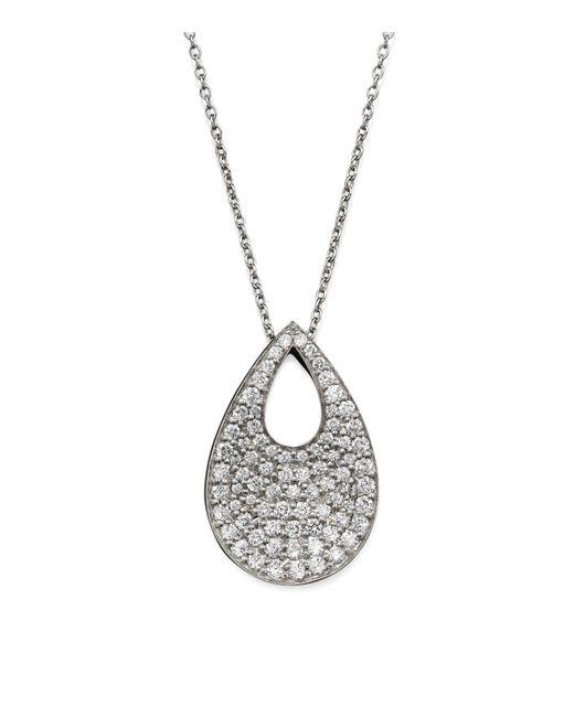 "Roberto Coin - 18k White Gold Diamond Teardrop Pendant Necklace, 18"" - Lyst"