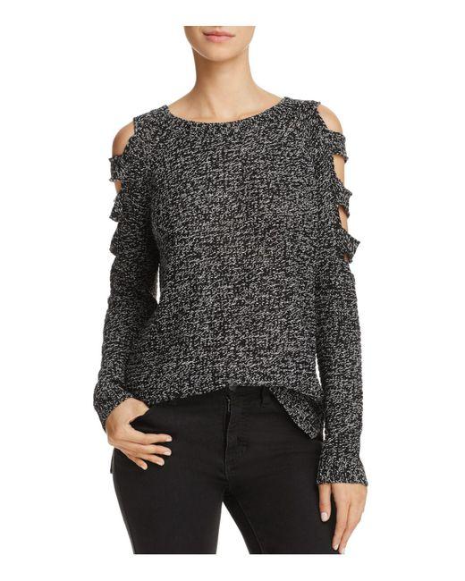 Aqua | Black Slit Cold-shoulder Sweater | Lyst
