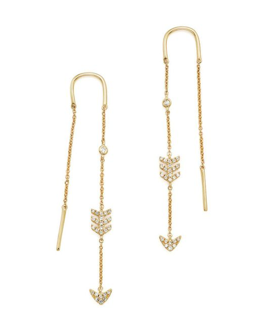 KC Designs - White 14k Yellow Gold Diamond Micro Pavé Drop Chain Earrings - Lyst