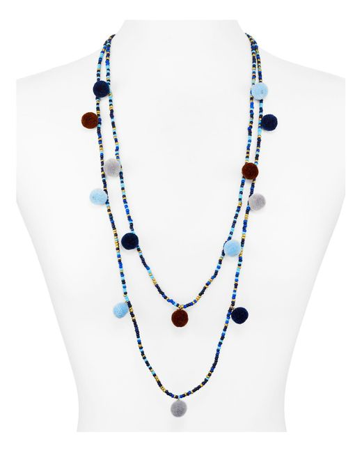 Aqua | Blue Kira Pom Pom Necklace, 30"
