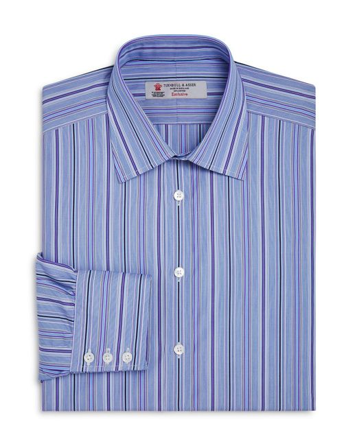 Turnbull & Asser | Blue Multi-striped Regular Fit Dress Shirt for Men | Lyst