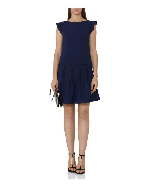 Reiss | Blue Melanie Pin-tuck Pleated-skirt Dress | Lyst