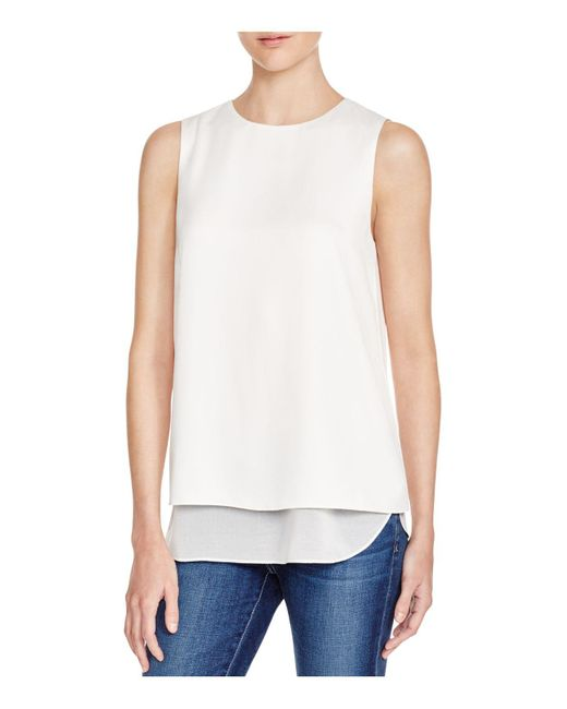 Cooper & Ella | White Avery Tiered Sleeveless Blouse | Lyst