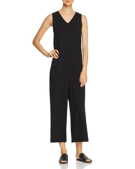 Eileen Fisher - Black Sleeveless Wide-leg Jumpsuit - Lyst