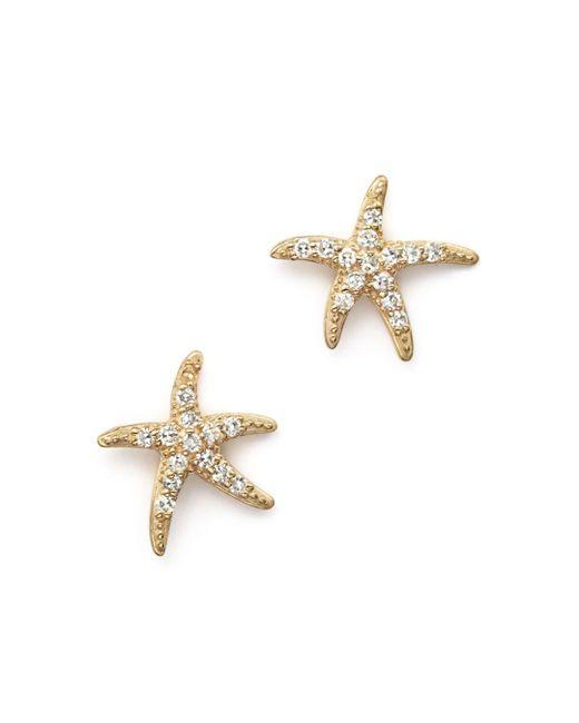KC Designs - Metallic Diamond Starfish Earrings In 14k Yellow Gold - Lyst