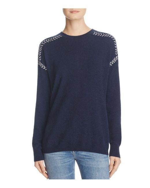 Aqua   Blue Cashmere Whipstitch Sweater   Lyst