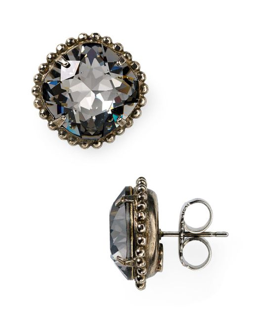 Sorrelli | Gray Round Crystal Stud Earrings | Lyst