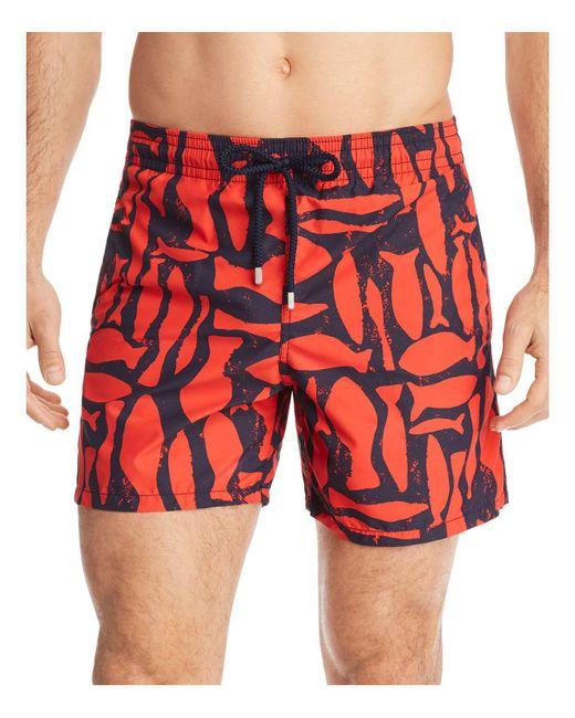 Lyst vilebrequin moorea fish swim trunks in red for men for Fishing swim trunks