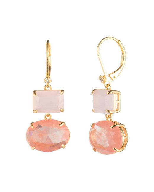 Carolee - Multicolor Gold Rectangle Drop Earrings - Lyst