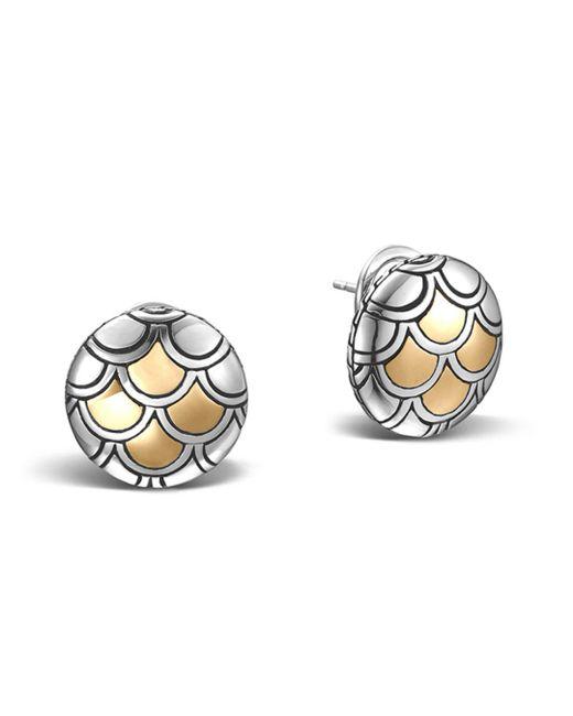 John Hardy - Metallic Sterling Silver & 18k Gold Naga Button Earrings - Lyst