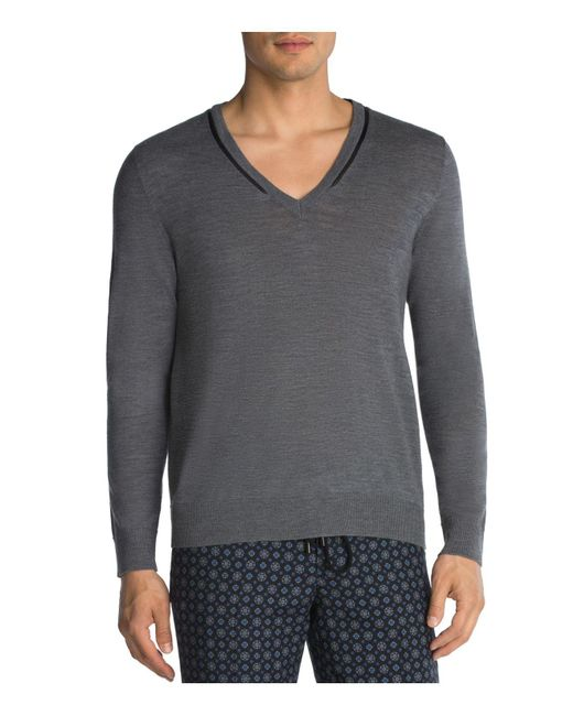 The Kooples | Gray Merino And Leather Sweater for Men | Lyst