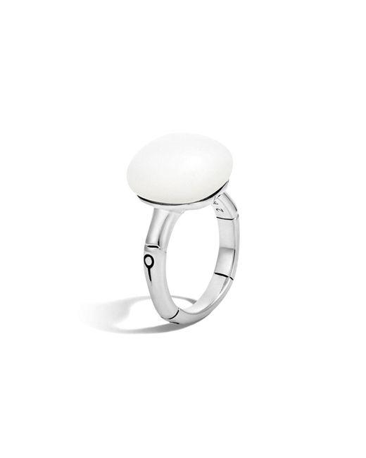 John Hardy | Metallic Batu Bamboo Silver Ring With White Moonstone | Lyst