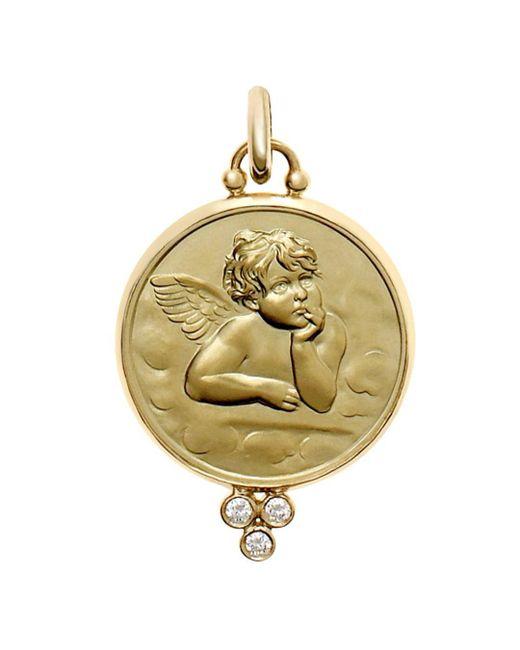 Temple St. Clair - Metallic 18k Yellow Gold Angel Pendant With Diamond Granulation - Lyst