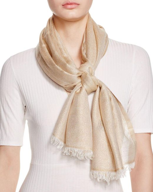 Aqua - Natural Solid Metallic Scarf - Lyst
