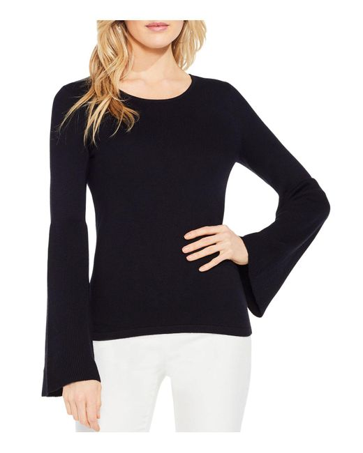 Vince Camuto | Black Ribbed Bell Sleeve Sweater | Lyst
