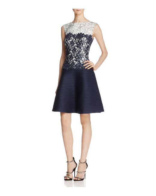 Tadashi Shoji | Blue Pintuck Fit-and-flare Dress | Lyst