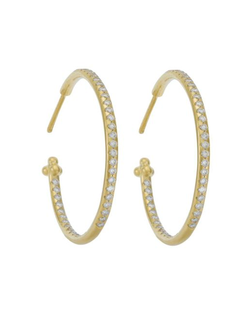 Temple St. Clair - Metallic Pave Hoop Earrings In 18k Yellow Gold, 1.57 Ct. T.w. - Lyst