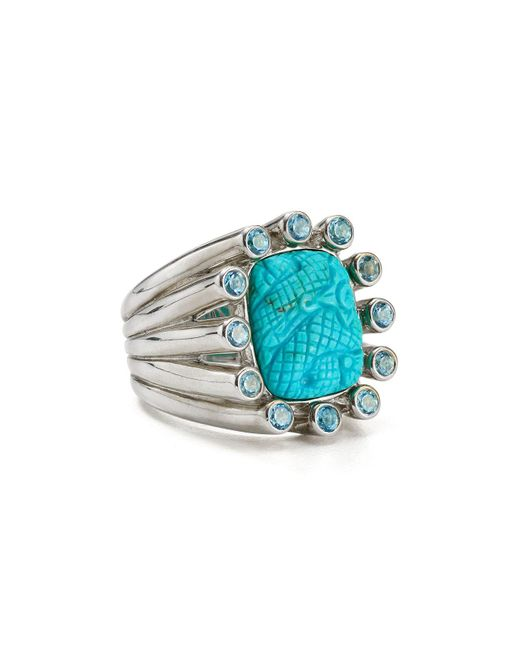 Stephen Dweck | Blue Carved Turquoise Cocktail Ring | Lyst