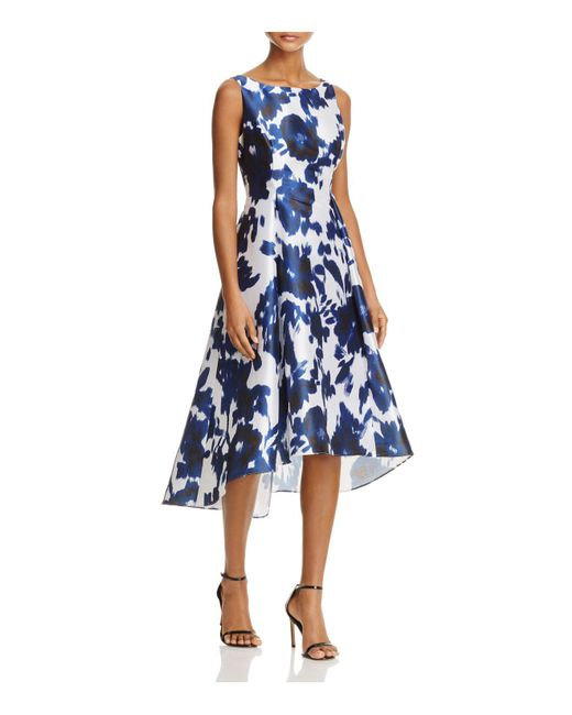 Adrianna Papell - Blue Abstract Floral High/low Dress - Lyst