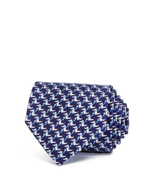 Ferragamo | Blue Happy Crocodile Classic Tie for Men | Lyst