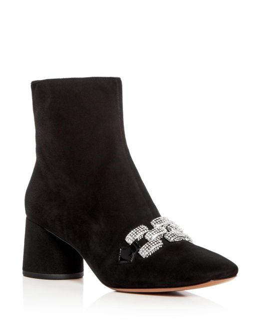 Marc Jacobs - Black Women's Embellished Chain Suede Block Heel Booties - Lyst
