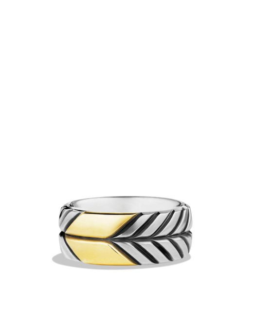 David Yurman | Metallic Modern Chevron Band Ring With Gold for Men | Lyst