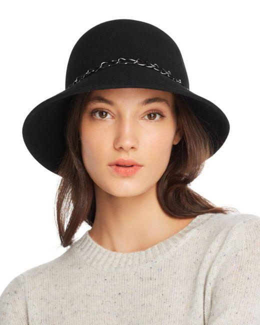 august hat company - Black Feelin It Chain-trim Wool Cloche - Lyst