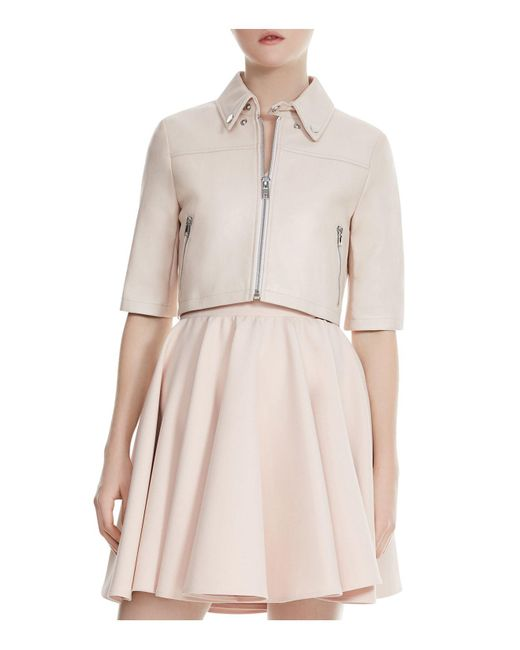 Maje - Pink Brittany Cropped Leather Shirt Jacket - Lyst