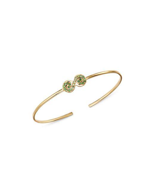 Shebee - Metallic 14k Yellow Gold Tsavorite & Green Sapphire Figure 8 Cuff Bracelet - Lyst